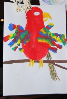 P is for parrot. I'm thinking it would be best to just do the hands with paint, and do the rest of the project in construction paper.
