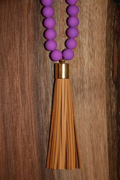 Purple Beaded Tassel Necklace with Cross Detail on Etsy, $35.00