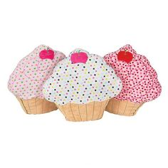 "Decorate a little girl's bedroom with these cute cupcake pillows. 3 colors to choose from. Pillow measures 15""."