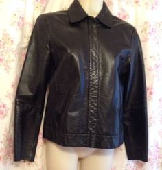 Black Banana Republic Leather Jacket Coat XS