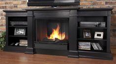 Fresno Entertainment Unit w Gel Fireplace in Black