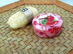 Handmade Strawberry Bar Soap and Luffa Aroma Glycerin 50 g included scrub. Strawberry Bars, Bar Soap, Scrubs, Handmade, Food, Hand Made, Essen, Meals, Work Wear