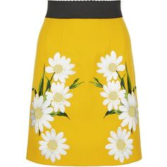 Dolce & Gabbana Daisy Embroidered Skirt   Harrods ❤ liked on Polyvore featuring skirts, bottoms, yellow skirt, embroidered skirt, dolce gabbana skirt, daisy print skirt and daisy skirt