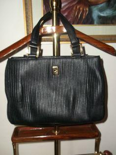 Diahann Carroll Black Pleated Satchel Handbag
