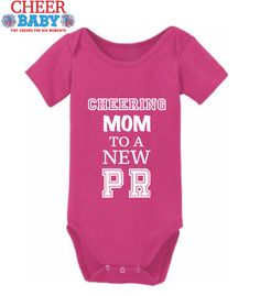 Baby Onesie - 'Cheering Mom to a New PR' by CheerBabyClothing on Etsy $19.95 Gift