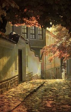 Cobblestone Street, Old Plovdiv, Bulgaria