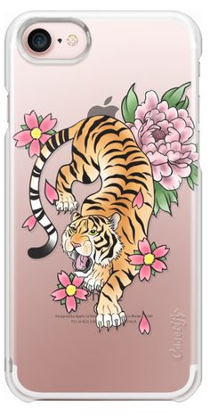 Casetify iPhone 7 Plus Case and iPhone 7 Cases. Other Animal iPhone Covers - Tiger & Flowers by Katie Reed   Casetify