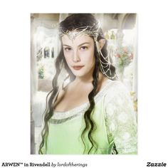 """""""ARWEN™ in Rivendell"""" Postcard. She is wearing here her Coronation Dress/Gown that we saw it on """"Return Of The King"""" (2004), the last, third episode of """"The Lord Of The Rings"""" Trilogy. It is designed by TLotR™ store & printed on ultra-heavy 110 lb, 12.5 point thick, semi-gloss paper. 