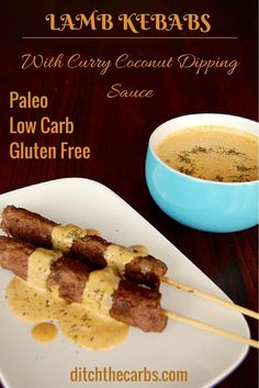 The Best Lamb Kebabs With Coconut Curry Dipping Sauce. Such an incredibly simple recipe to make either in the oven or on the barbecue. Low carb, gluten free, paleo and whole30. LCHF, Banting and grain free. | ditchthecarbs.com via @ditchthecarbs