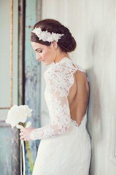 Loving this lace dress with open back! | Event Design & Florals: Rock Paper Scisscors Events - rpscissors.com | Photography: Peaches And Mint - www.peachesandmint.com Read More: http://www.stylemepretty.com/2014/05/12/emerald-mint-peach-wedding-inspiration/