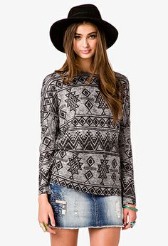 Find your favorite sweater & cardigan styles at Forever Cozy up in our oversized knits with classic crochet cardigans, ribbed sweater dresses, velvet sweatshirts, chenille tops & more! Tribal Print Sweater, Beautiful Dresses, Nice Dresses, Fall Outfits, Cute Outfits, Cardigan Fashion, Tunic Sweater, Latest Trends, Sweaters For Women