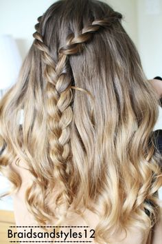 Half up Half Down Hairstyle Idea by Braidsandstyles12. Lace braid half up style.