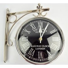 Double sided vintage railway platform clock replica