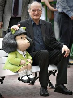 Mafalda (the statue): a comic strip written & drawn by Argentine cartoonist Joaquín Salvador Lavado -better known by his pen name Quino (sitting by the statue). The strip featured a 6-year-old girl named Mafalda, who reflected the Latin American middle class & progressive youth concerned about humanity & world peace & rebelled against the world bequeathed by their elders. The strip ran 1964-1973 & was very popular in Latin America, Europe, Quebec & Asia.