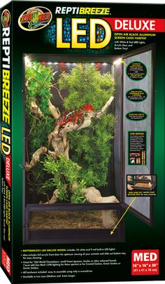 ReptiBreeze® LED Deluxe Zoo Med's ReptiBreeze Screen Enclosures just got better! Introducing our NEW DELUXE ReptiBreeze enclosures with built-in LEDs, easy-to-clean removable tray, and clear acrylic front for optimal animal viewing!