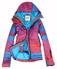 2013 new famous Gsou snow women snowboarding ski jacket striped colorful winter warm waterproof  brand clothes free shipping