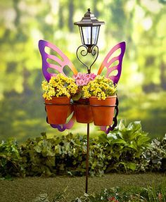 Butterfly Plant Stand Pink 3Ft High 3 Rings For Pots Solar Light On Top Painted #LC