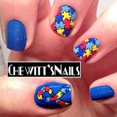 chewittsnails autism awareness #nail #nails #nailart