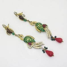 Victorian Slim Peacock Earring Green Red