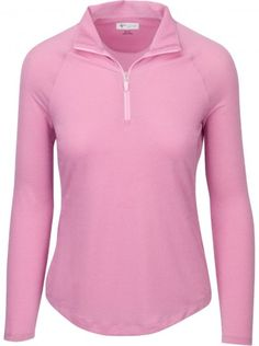 If you're in the market for some new outfits, consider our women's apparel! Shop this comfortable and stylish ESSENTIALS (Navy & Pink Ice) SALE Greg Norman Ladies L/S Lurex 1/4-Zip Mock Golf Shirts from Lori's Golf Shoppe.