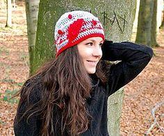 Čiapky - Čiapka s červeným lístočkom - 6061159_