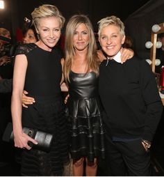 (L-R) Actors Portia de Rossi and Jennifer Aniston and tv personality Ellen DeGeneres attend the 39th Annual People's Choice Awards at Nokia Theatre L.A. Live on January 9, 2013 in Los Angeles, California.