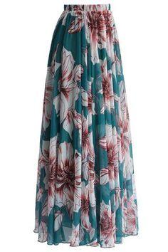 be683a86d6f Jupe Longue Mousseline Chic Jaune Imprimee Fleur Floraison
