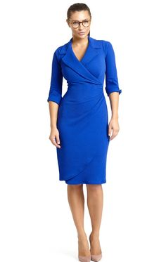 Dianne Dress in electric lapis blue is a great wardrobe essential dress with lapel collar and cuffed sleeves, perfect for work or everyday. With classic colour and figure skimming fit, this dress promises you a stylish look whatever the occasion. Whatever your body shape, whether curvy, busty or slender, the design will minimise larger busts and the flattering cross-over style neckline will suit everyone. Feel great and look great in this silhouette flattering, easy care dress. Machine…