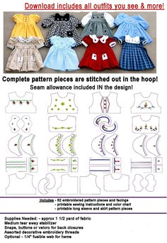 """18 """"doll clothes - suitable for American Girl . In The Hoop Embroidery . 18 """"doll clothes – suitable for American Girl …. # …… In The Hoop Embroidery ……. Sewing Doll Clothes, Sewing Dolls, Ag Dolls, Girl Doll Clothes, Barbie Clothes, Girl Dolls, Blythe Dolls, Barbie Doll, Diy Clothes"""