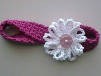 Crochet headband with daisy-free