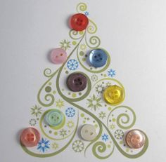 For homemade Christmas cards - cute idea for my friend the button art expert! Christmas Tree Cards, Noel Christmas, Homemade Christmas, All Things Christmas, Christmas Decorations, Xmas Tree, Christmas Buttons, Button Ornaments, Button Decorations