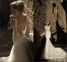 2014 Galia Lahav Spaghetti Sheer Back Pearls Lace Full Beaded Sexy Mermaid Wedding Dresses Open Back Lace Straps Sexy Bridal Gowns 403BRI