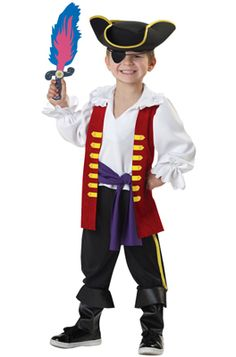 The Wiggles Captain Feathersword Toddler Costume includes shirt with attached vest and waist tie, pants with attached boot tops, pirate hat and foam sword. Flash Halloween Costume, Halloween Costumes Kids Boys, Pirate Halloween, Boy Costumes, Costume Ideas, Pirate Party, Halloween 2017, Halloween Stuff, Halloween Treats