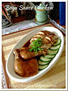 INTRODUCTION Soya sauce chicken is a rather classic Cantonese meat dish. The chicken was braised in some watery soya sauce such that it is brownish in colour and the texture of the meat is t… Soya Sauce Chicken, Soy Chicken, Soy Sauce, Boiled Chicken, Ginger Sauce, Asian Chicken, Chicken Curry, Chicken Rice, Chicken Wings