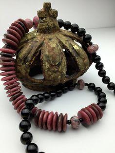 Life Purpose! Large Long BOLD Rhodonite and Black Tourmaline Stone Angel Healing Necklace!