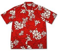 Seastar Red Hawaiian Cotton Aloha Shirt