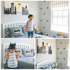 Looks like this little hero is flying high and feeling invincible from his batman themed room designed by his mama with our Batman wall decal pattern. #batman #superhero #superheros #kidsroom #kidsdecor #kidsinterior #kidsroomdecor #wallsticker