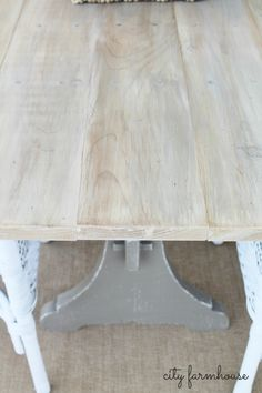 DIY:   Salvaged Farmhouse Table - this is a great way to reuse what you already have!  A table base was used - the top was built with basic lumber & washed with paint.