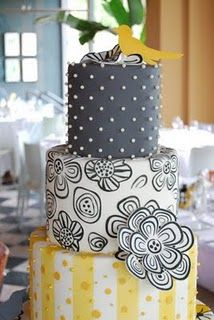 cool cake design, color change of course Gorgeous Cakes, Pretty Cakes, Amazing Cakes, Mellow Yellow, Gray Yellow, Pink Purple, Black White, Grey, Blue