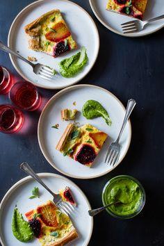 Ricotta Beet Tart with Beet Green Pesto, food photography, food styling