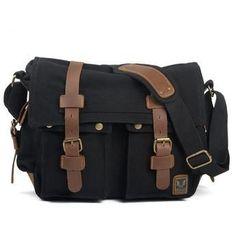 Black Canvas Leather Camera Bag Leisure Shoulder Bag Messenger Bag DSLR Camera Bag 2138DL ********************************************** We use selected thick cotton waxed canvas, quality hardware and