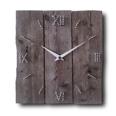 Similar Items like Wood & Nail, Wall Clock, Home Decor, Original Clock, Hand Made … - Nail Design Ideas! Rustic Wall Clocks, Unique Wall Clocks, Wood Clocks, Antique Clocks, Rustic Walls, Rustic Decor, Diy Clock, Clock Decor, Pallet Clock