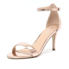 Verali Matthew Rose Gold Metallic ($59) ❤ liked on Polyvore featuring shoes, sandals, heels, evening shoes, evening sandals, ankle strap shoes, ankle strap high heel sandals and special occasion shoes