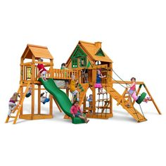 dc72cf19aaa2d Gorilla Playsets Pioneer Peak Treehouse Swing Set with Fort Add-On   Amber