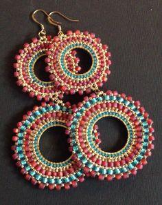 Items similar to Beaded Double Hoop Earrings Aqua Berries II Bohemian Jewelry Large Long Earrings on Etsy Brick Stitch Earrings, Seed Bead Earrings, Beaded Earrings, Seed Beads, Hoop Earrings, I Love Jewelry, Bohemian Jewelry, Bead Jewellery, Beaded Jewelry