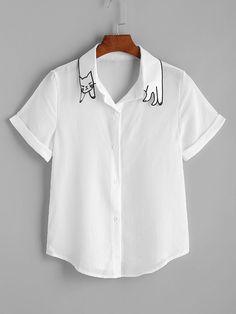 White Cat Shape Collar Cuffed Curved Hem Shirt