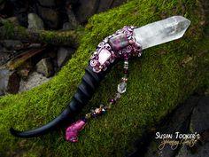 Magic Crystal Wand Pink Himalayan Rose Quartz Ruby Feldspar Pagan Altar Reiki Wiccan Springbok Horn MORGANA ROSEWING by Spinning Castle. $273.00, via Etsy.