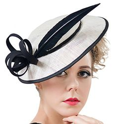 Women Pillbox Hat Sinamay Fascinator Kentucky Derby Hat for Wedding Party Aniwon