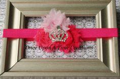 Perfect Pink Princess Trio Shabby Chic Flower Rose Headband - Photo Prop - Shower Gift -  Newborn Baby - Little Girls Hair Bow. $6.99, via Etsy.