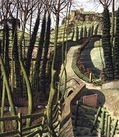 Shade Garden Flowers And Decor Ideas Simon Palmer, Ryedale Monastery Landscape Art, Landscape Paintings, Tree Paintings, Landscapes, Mid Century Art, Natural World, Les Oeuvres, Art Gallery, Fine Art